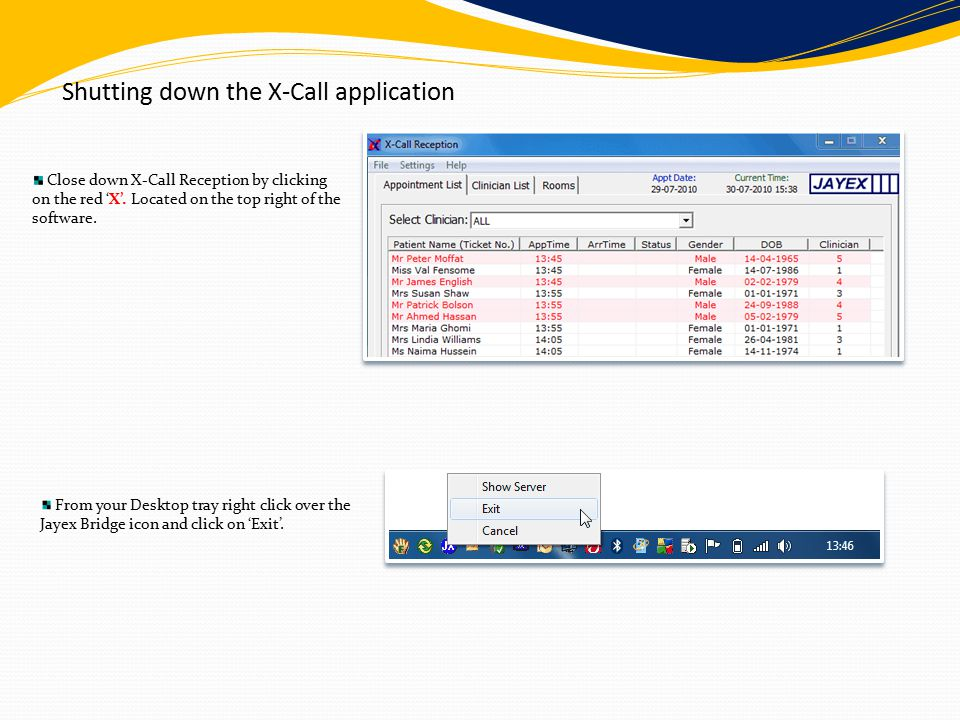 Shutting down the X-Call application