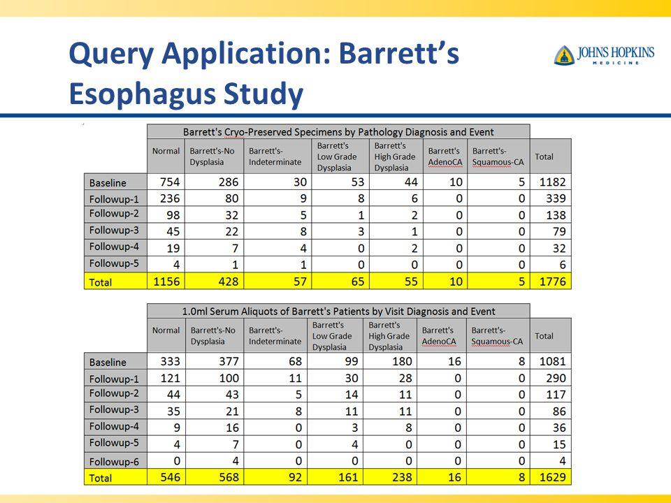 Query Application: Barrett's Esophagus Study