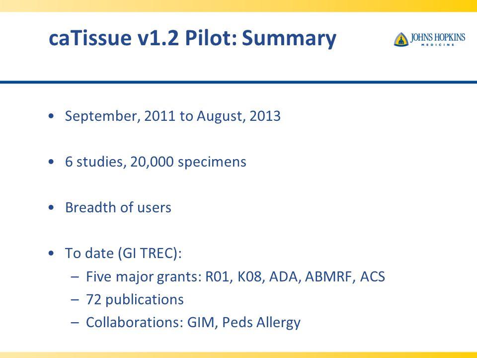 caTissue v1.2 Pilot: Summary