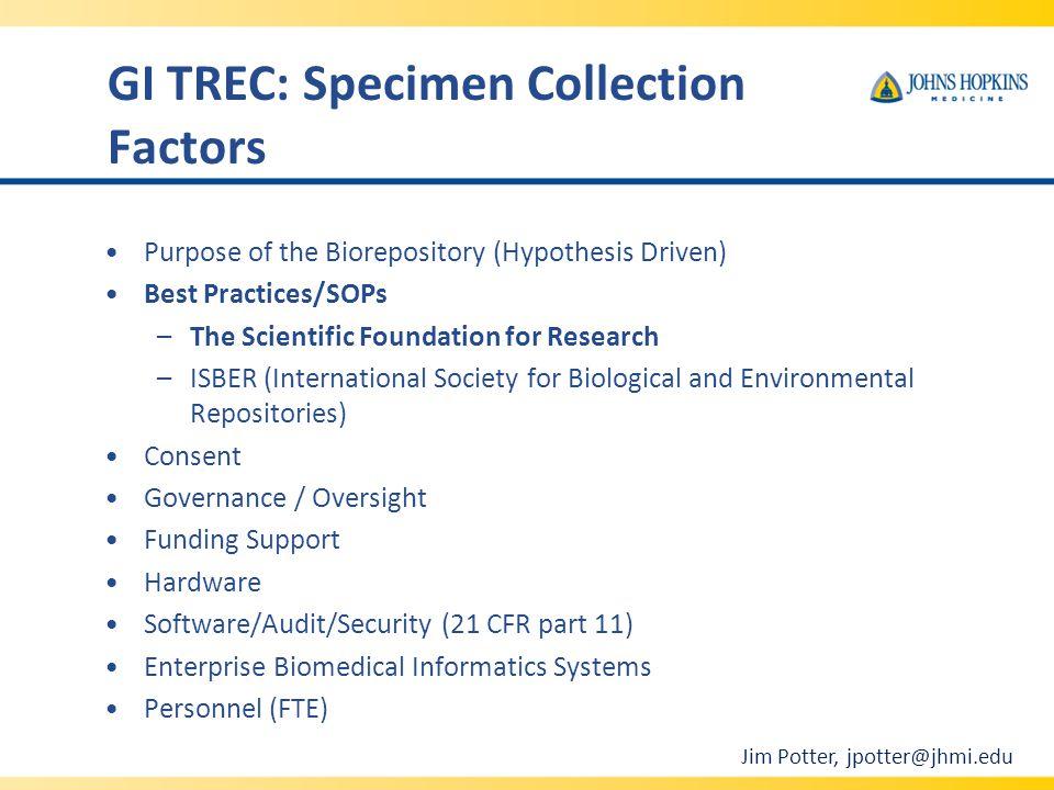 GI TREC: Specimen Collection Factors