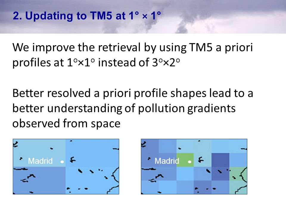 2. Updating to TM5 at 1° × 1° We improve the retrieval by using TM5 a priori profiles at 1o×1o instead of 3o×2o.
