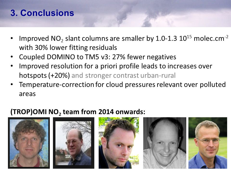 3. Conclusions Improved NO2 slant columns are smaller by 1.0-1.3 1015 molec.cm-2 with 30% lower fitting residuals.