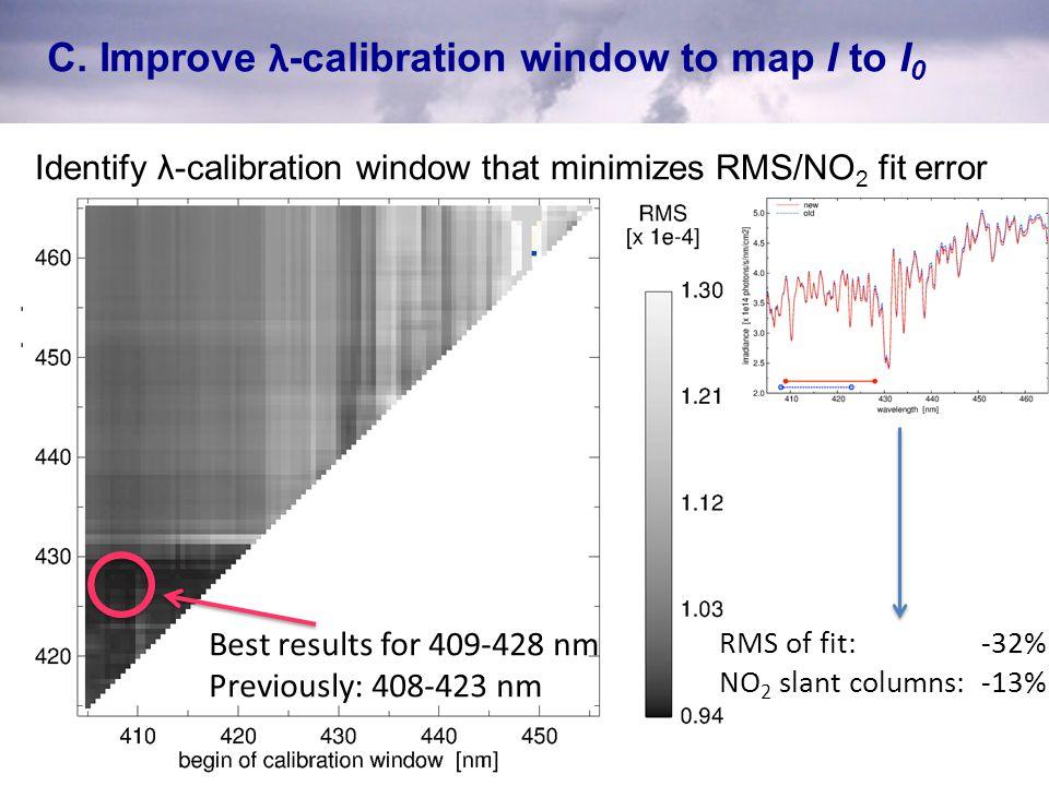 C. Improve λ-calibration window to map I to I0