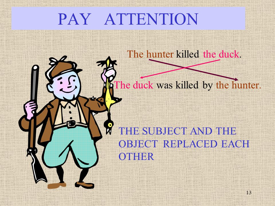 PAY ATTENTION The hunter killed the duck.