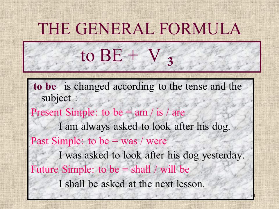 THE GENERAL FORMULA to BE + V 3