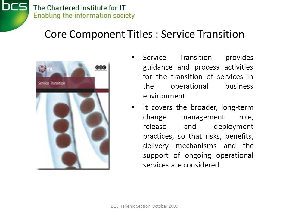 Core Component Titles : Service Transition