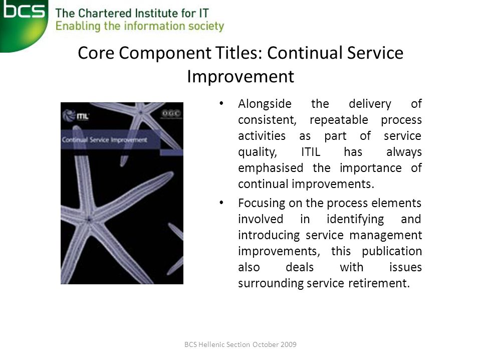 Core Component Titles: Continual Service Improvement