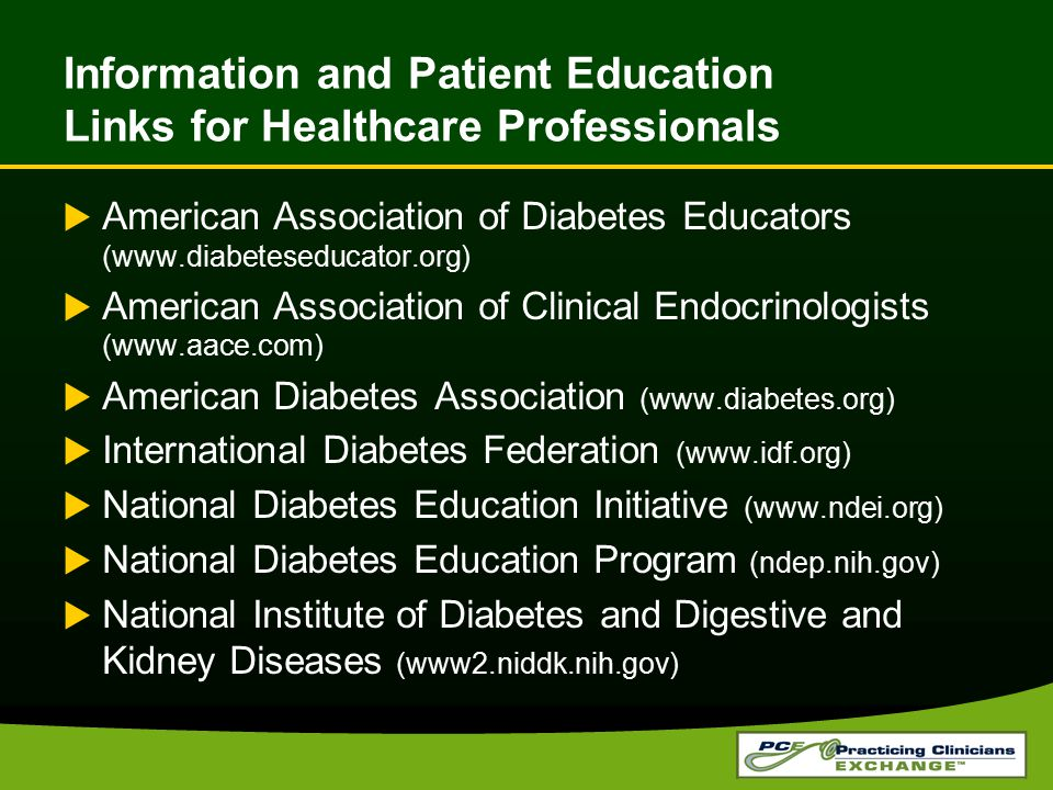 Information and Patient Education Links for Healthcare Professionals