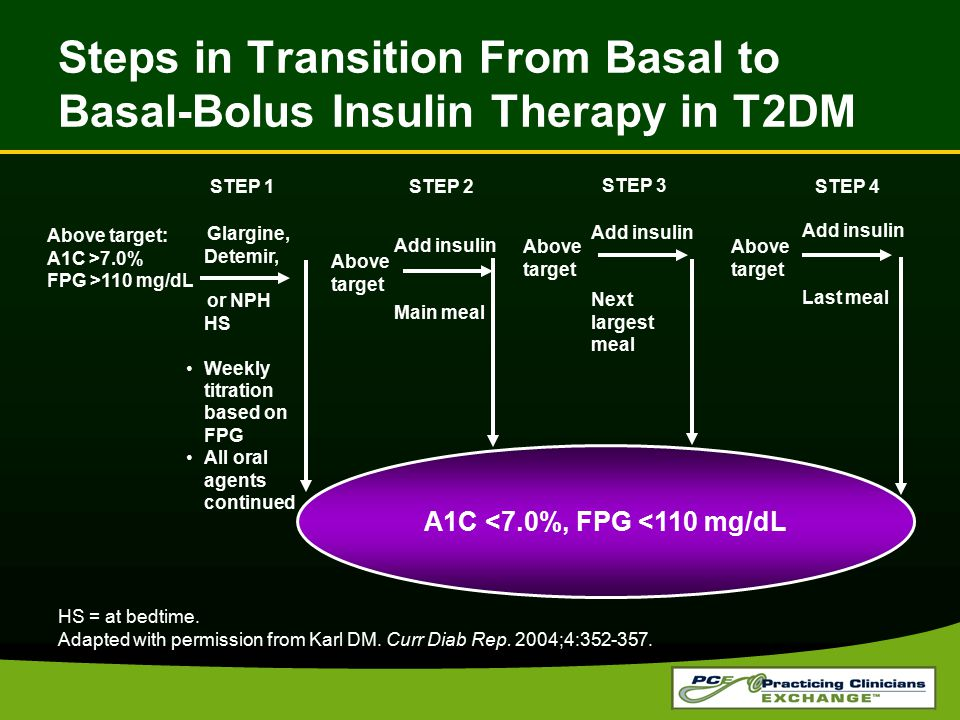 Steps in Transition From Basal to Basal-Bolus Insulin Therapy in T2DM