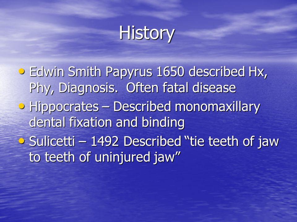 History Edwin Smith Papyrus 1650 described Hx, Phy, Diagnosis. Often fatal disease.