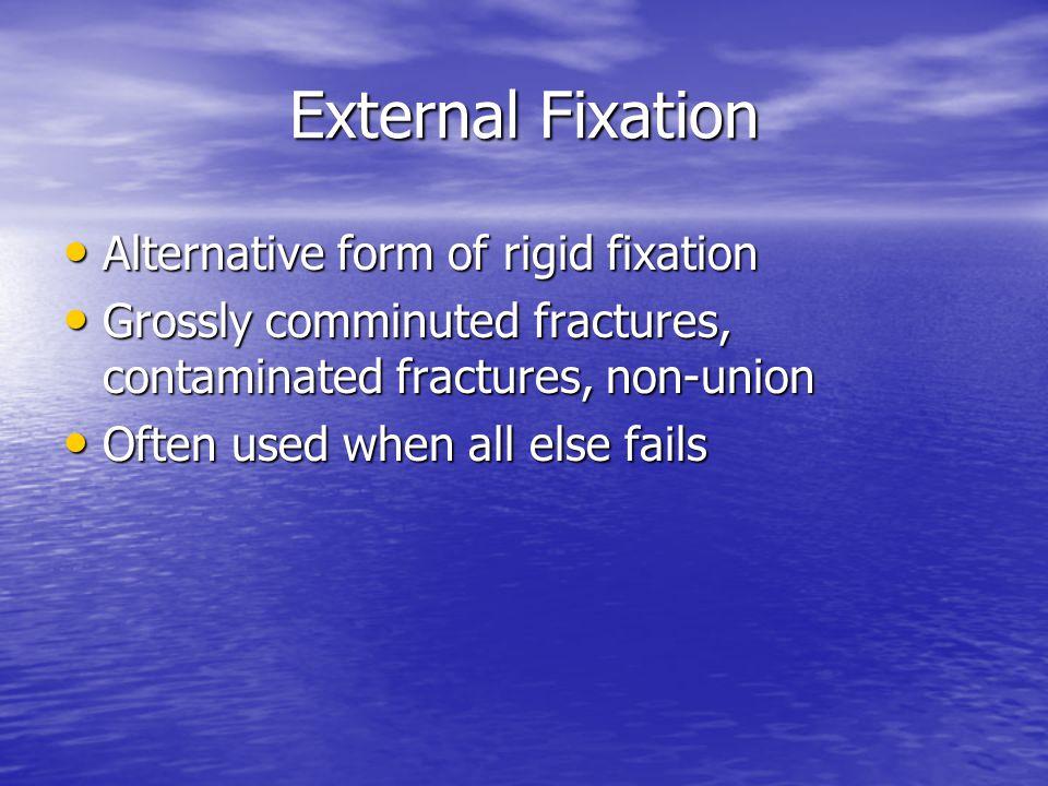 External Fixation Alternative form of rigid fixation