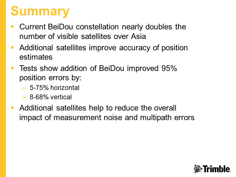 Summary Current BeiDou constellation nearly doubles the number of visible satellites over Asia.