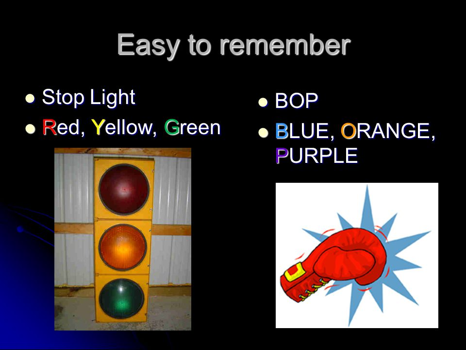 Easy to remember Stop Light BOP Red, Yellow, Green