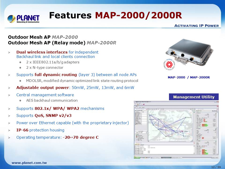 Features MAP-2000/2000R Outdoor Mesh AP MAP-2000