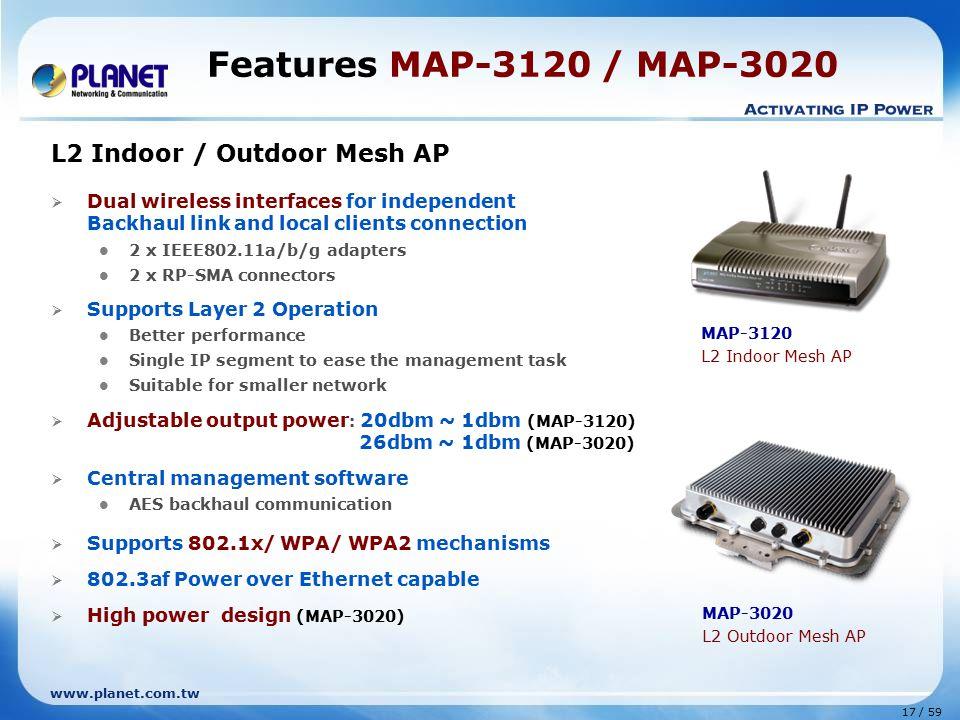 Features MAP-3120 / MAP-3020 L2 Indoor / Outdoor Mesh AP