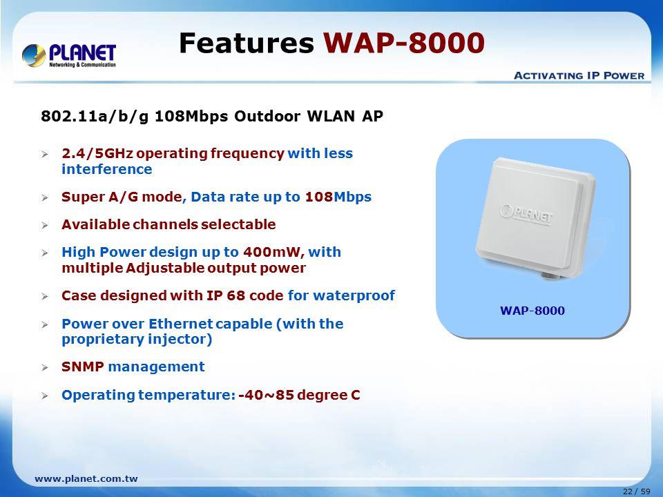 Features WAP-8000 802.11a/b/g 108Mbps Outdoor WLAN AP