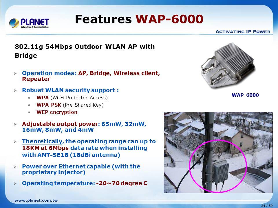 Features WAP-6000 802.11g 54Mbps Outdoor WLAN AP with Bridge