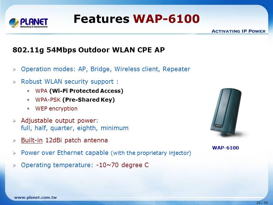Features WAP-6100 802.11g 54Mbps Outdoor WLAN CPE AP