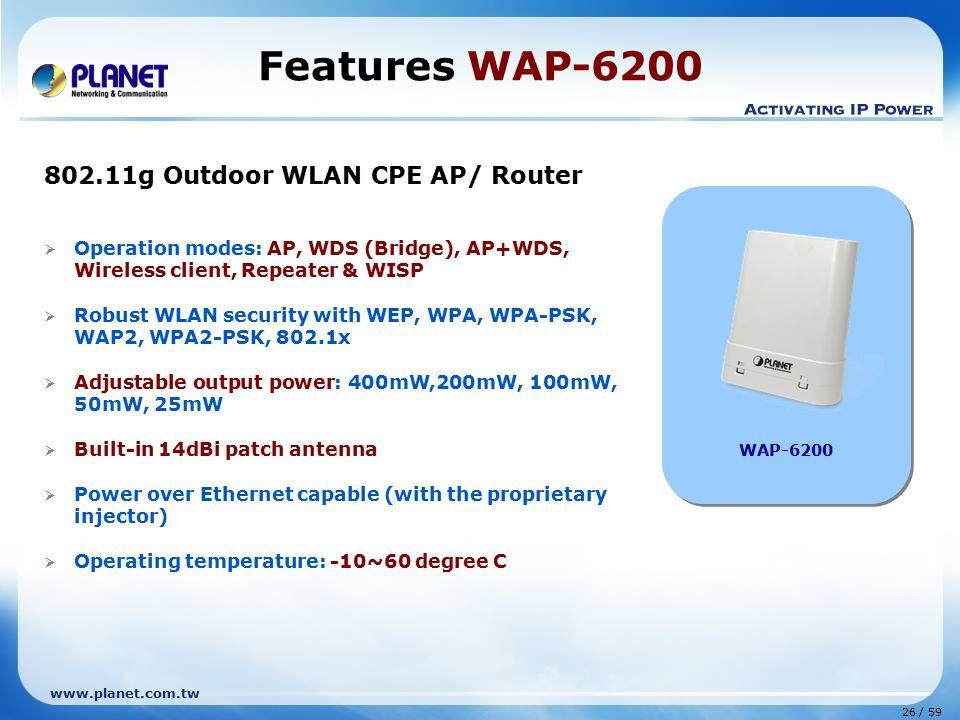 Features WAP-6200 802.11g Outdoor WLAN CPE AP/ Router