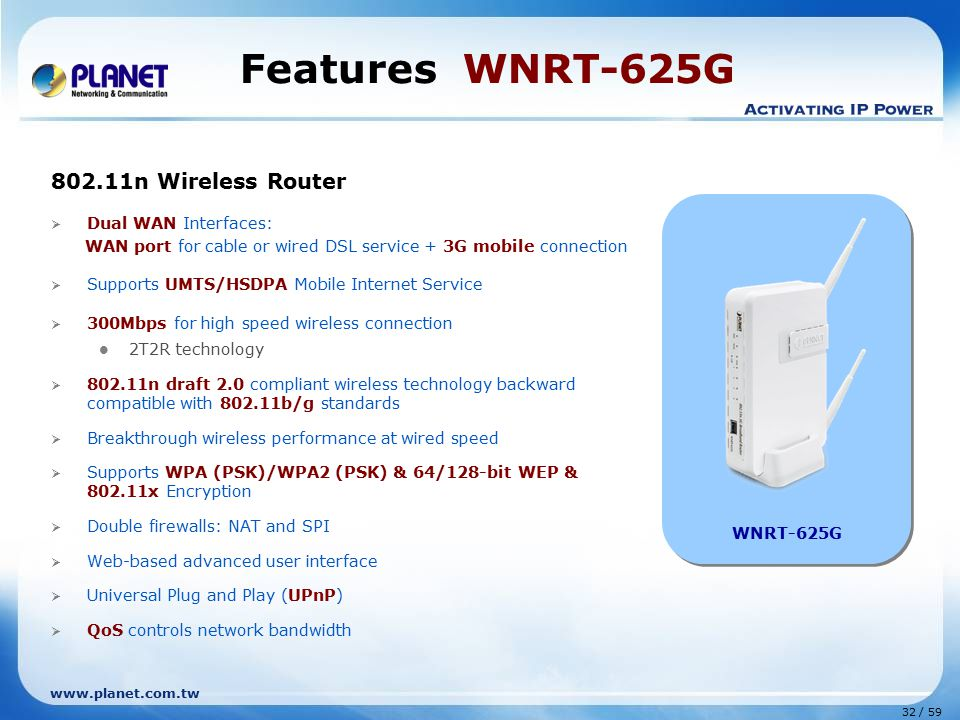 Features WNRT-625G 802.11n Wireless Router Dual WAN Interfaces: