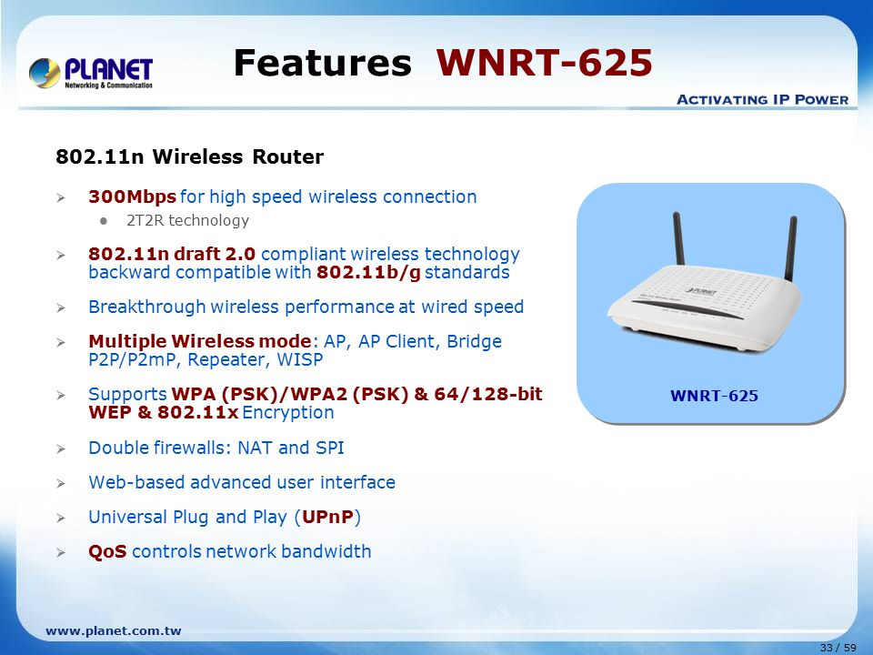 Features WNRT-625 802.11n Wireless Router