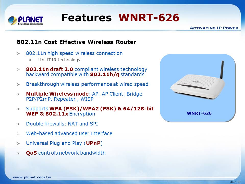 Features WNRT-626 802.11n Cost Effective Wireless Router
