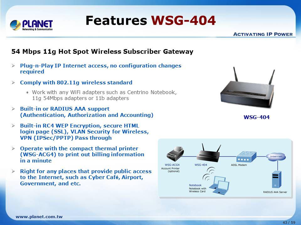 Features WSG-404 54 Mbps 11g Hot Spot Wireless Subscriber Gateway