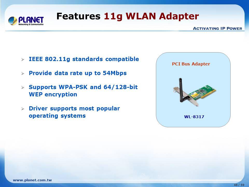 Features 11g WLAN Adapter