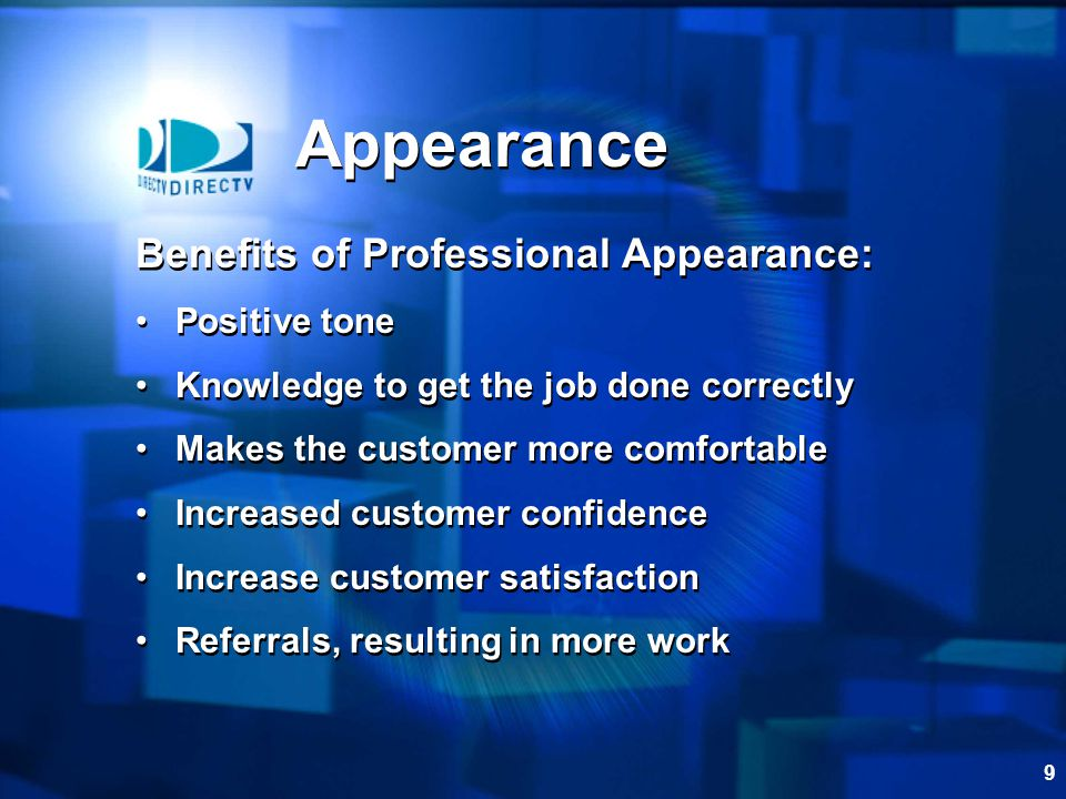 Appearance Benefits of Professional Appearance: Positive tone