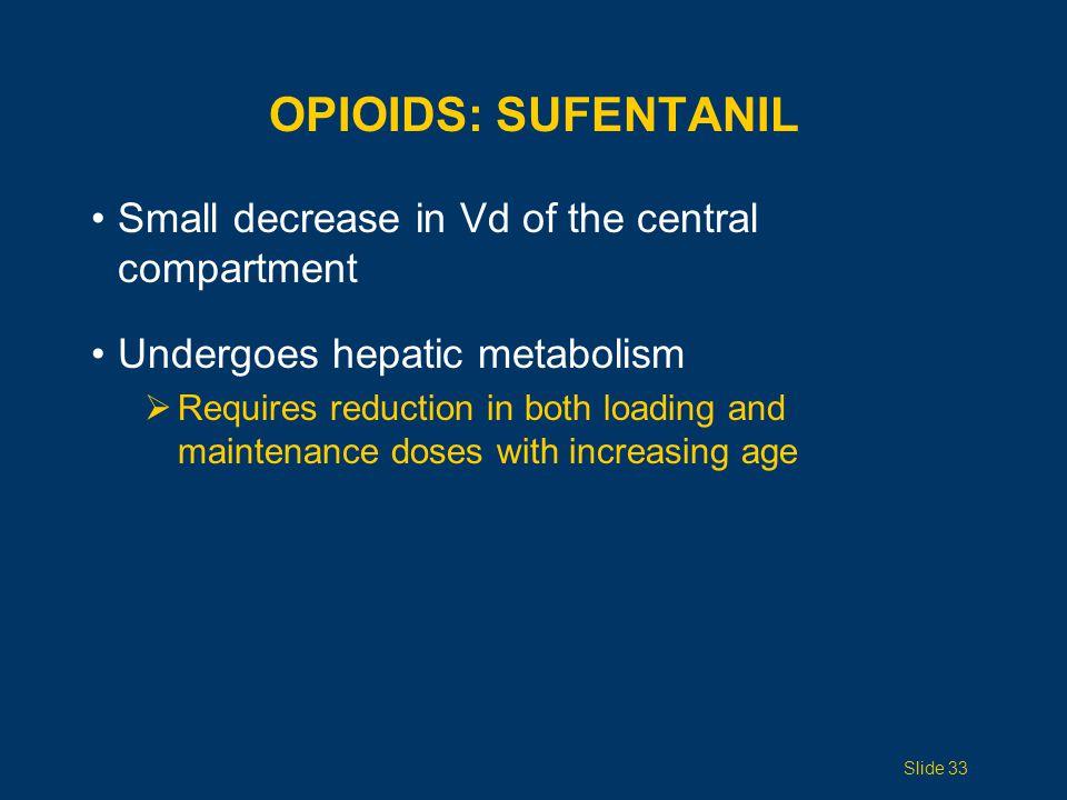 OPIOIDS: Sufentanil Small decrease in Vd of the central compartment