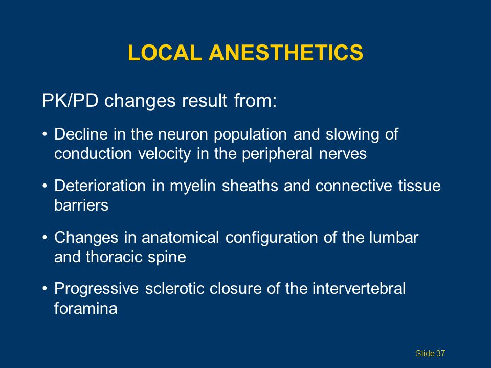Local Anesthetics PK/PD changes result from: