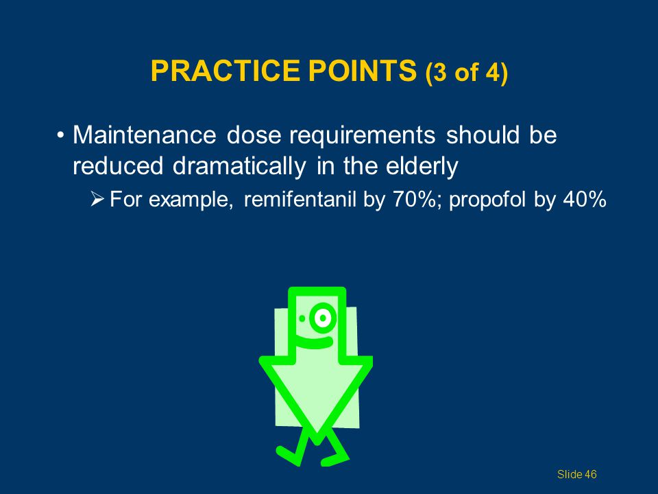 Practice Points (3 of 4) Maintenance dose requirements should be reduced dramatically in the elderly.