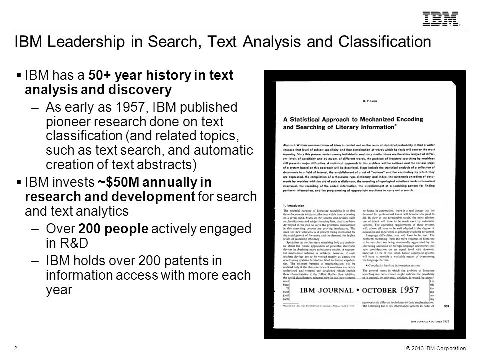IBM Leadership in Search, Text Analysis and Classification