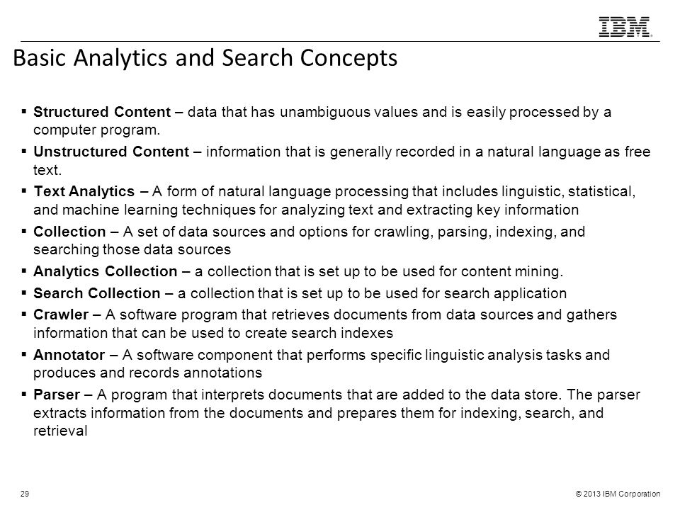 Basic Analytics and Search Concepts
