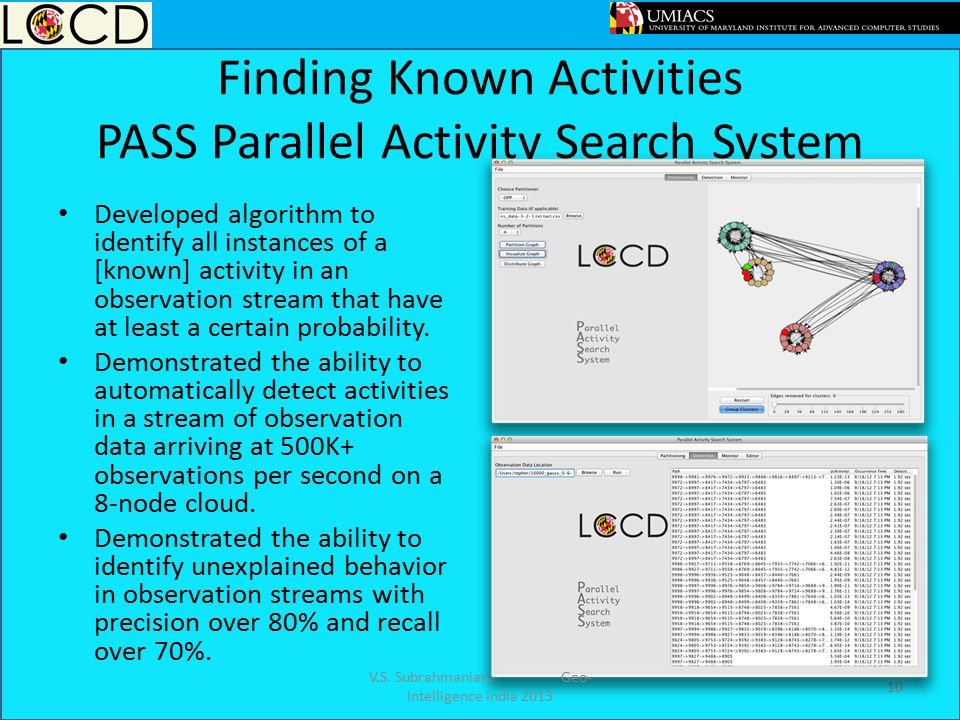 Finding Known Activities PASS Parallel Activity Search System
