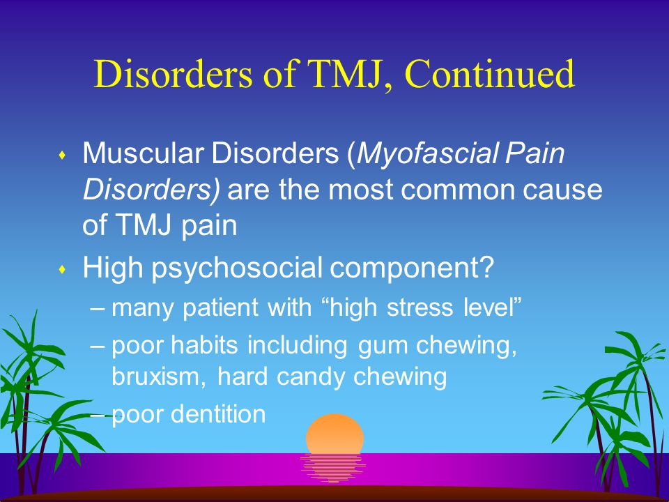 Disorders of TMJ, Continued