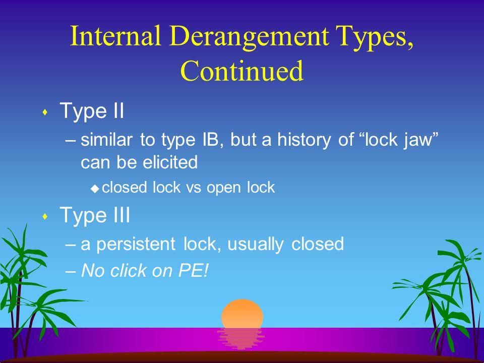 Internal Derangement Types, Continued
