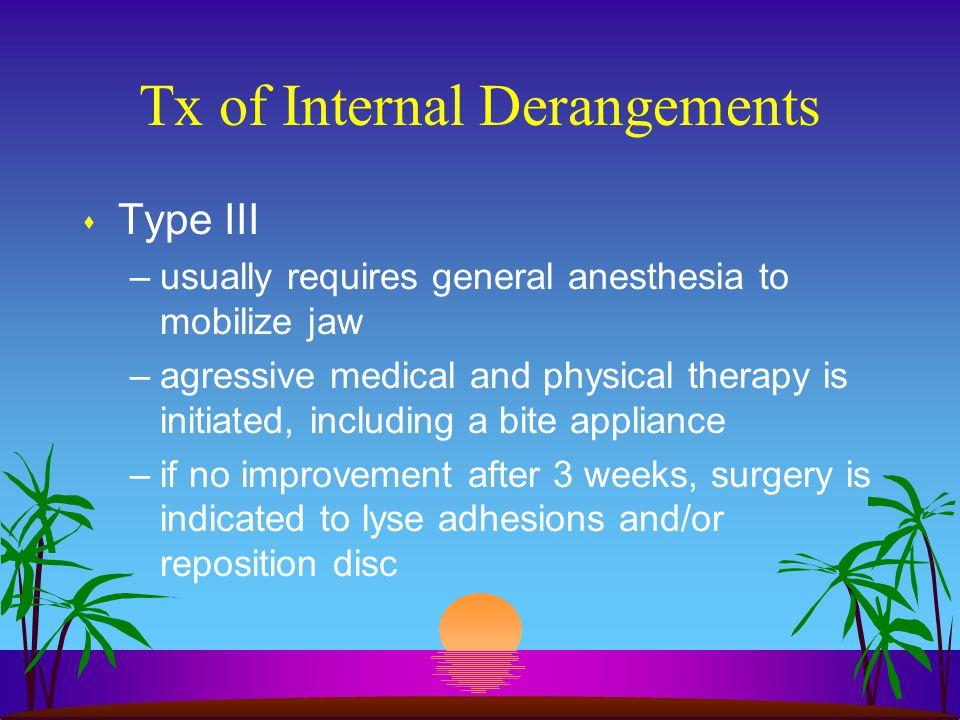 Tx of Internal Derangements