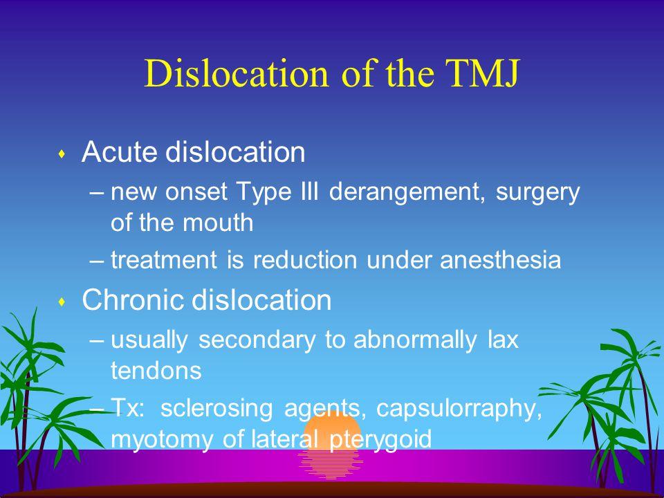 Dislocation of the TMJ Acute dislocation Chronic dislocation