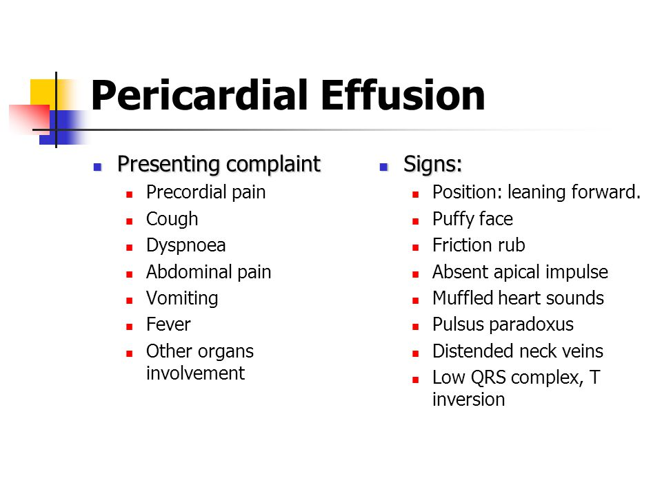 Pericardial Effusion Presenting complaint Signs: Precordial pain Cough
