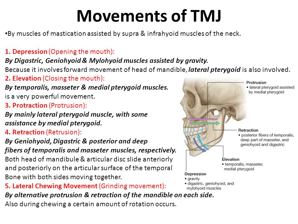 Movements of TMJ By muscles of mastication assisted by supra & infrahyoid muscles of the neck. 1. Depression (Opening the mouth):