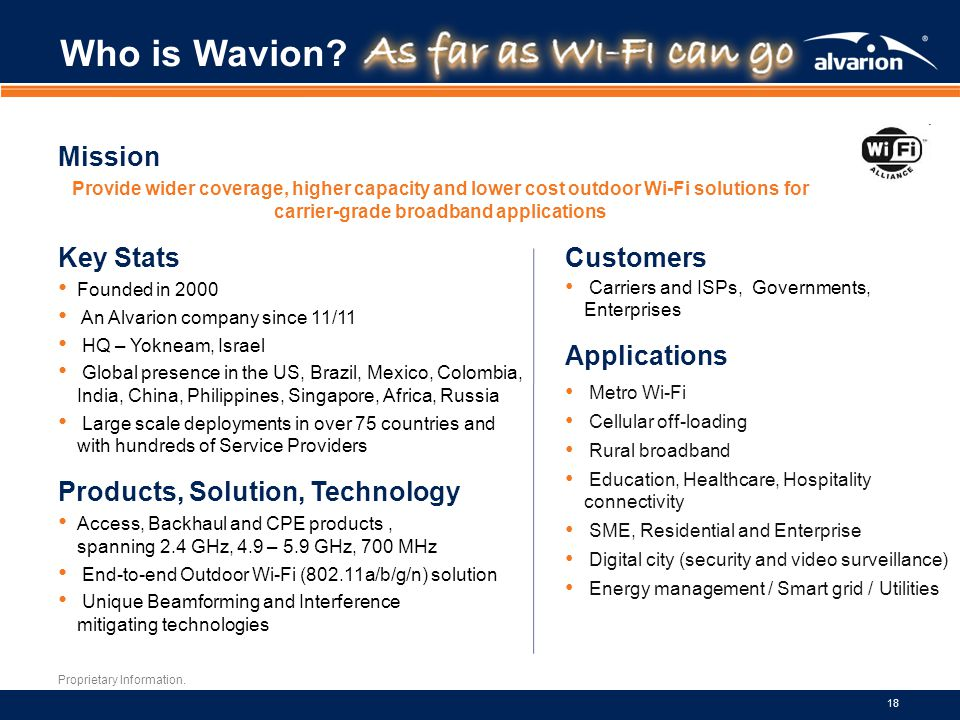 Who is Wavion Mission Key Stats Customers Applications