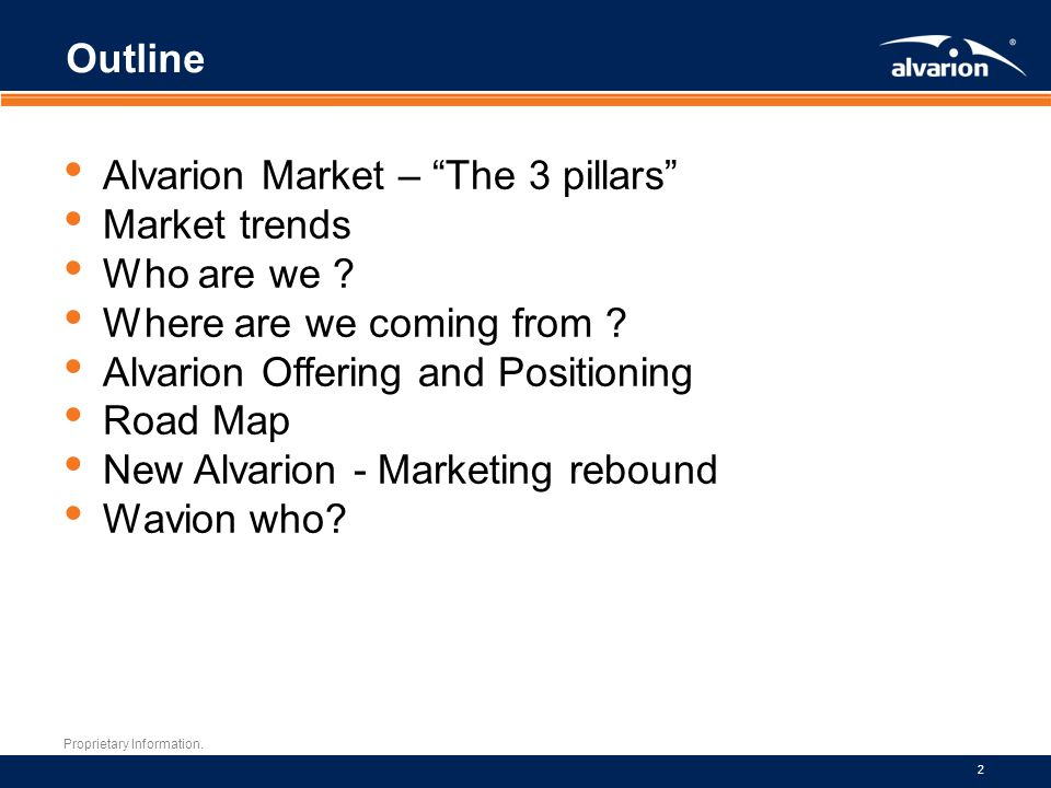 Outline Alvarion Market – The 3 pillars Market trends. Who are we Where are we coming from