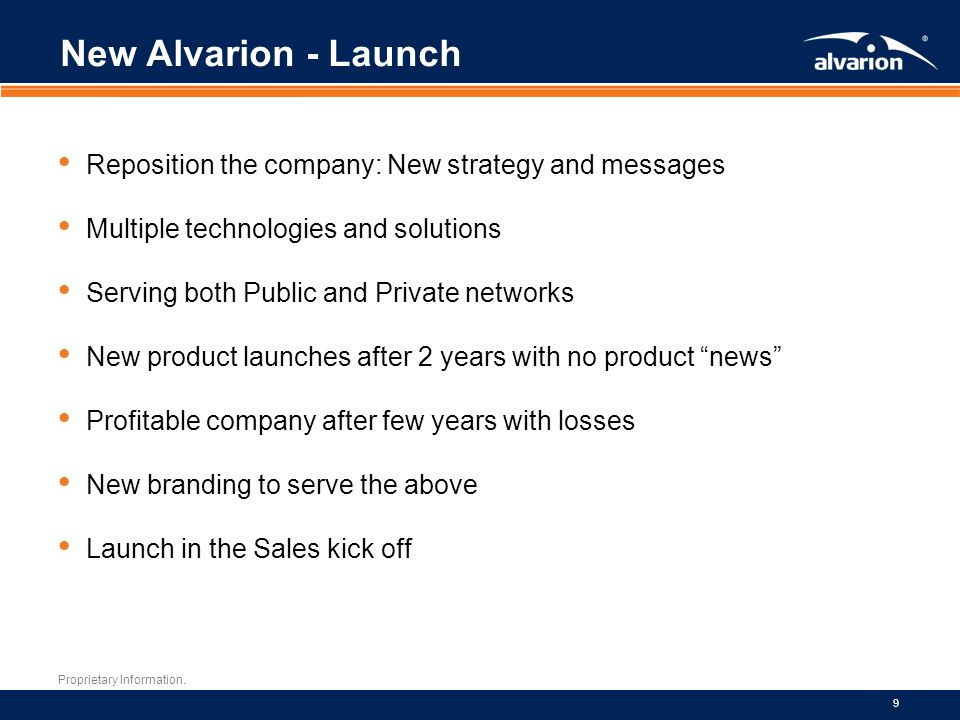 New Alvarion - Launch Reposition the company: New strategy and messages. Multiple technologies and solutions.