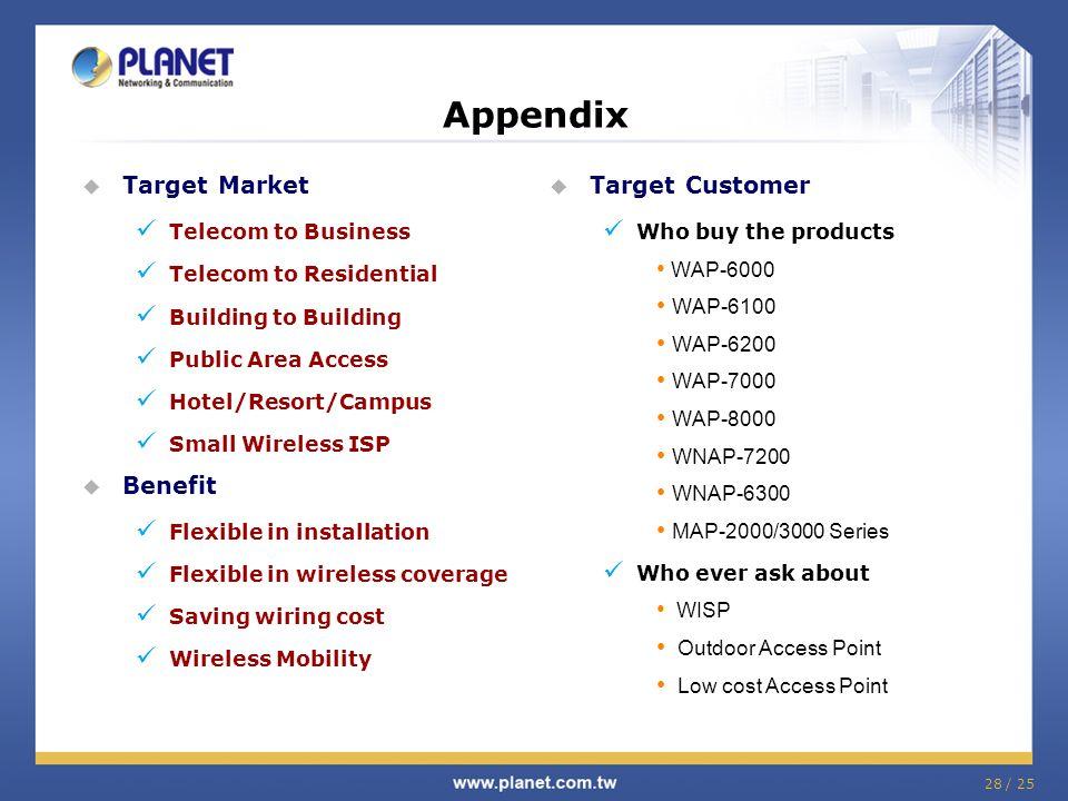 Appendix Target Market Benefit Target Customer Telecom to Business