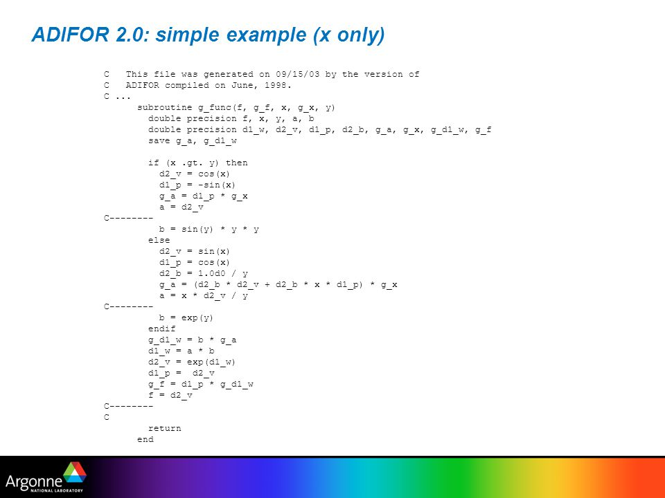 ADIFOR 2.0: simple example (x only)