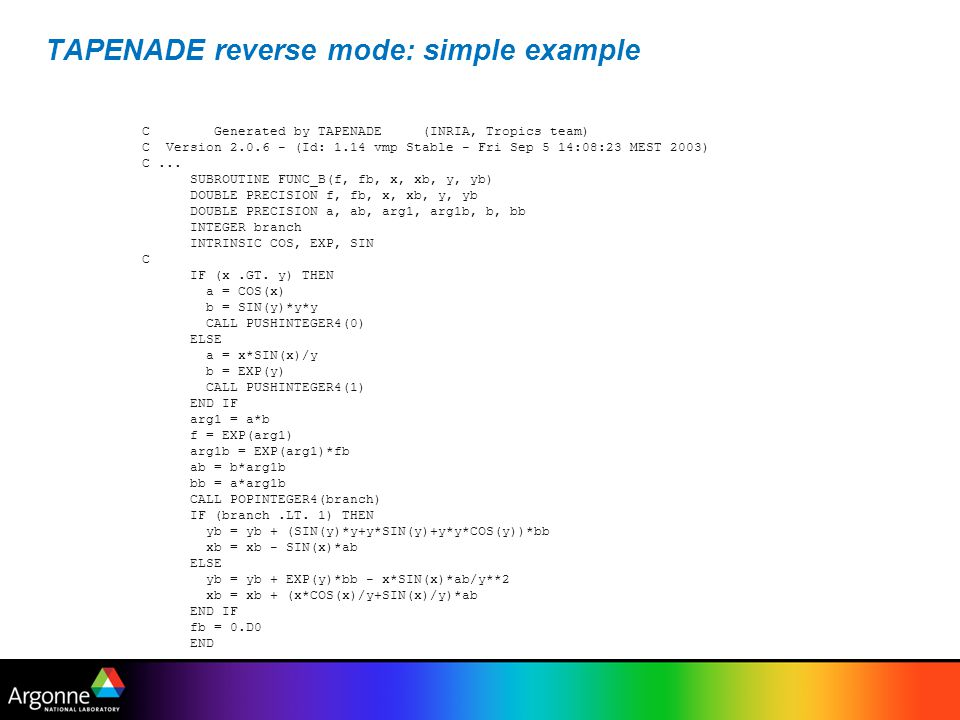 TAPENADE reverse mode: simple example