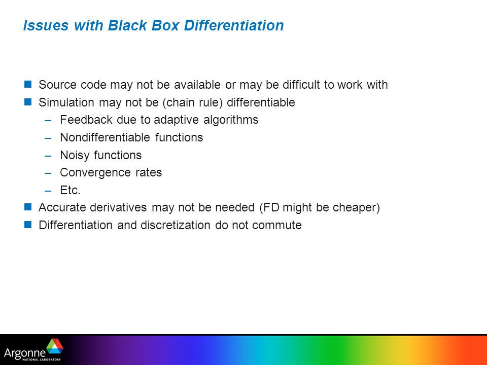 Issues with Black Box Differentiation