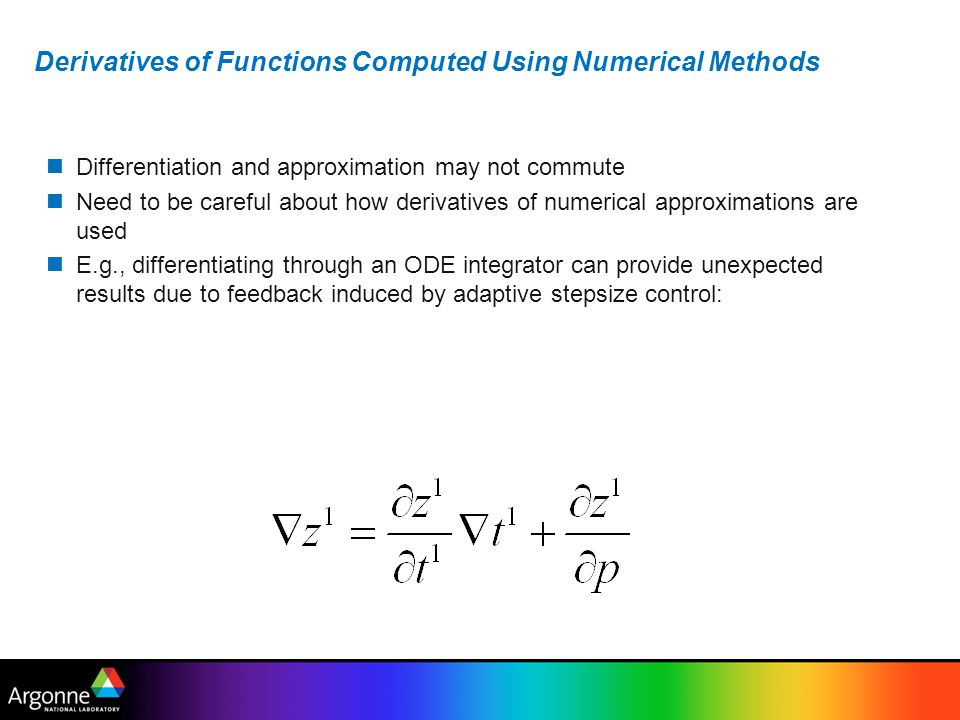 Derivatives of Functions Computed Using Numerical Methods