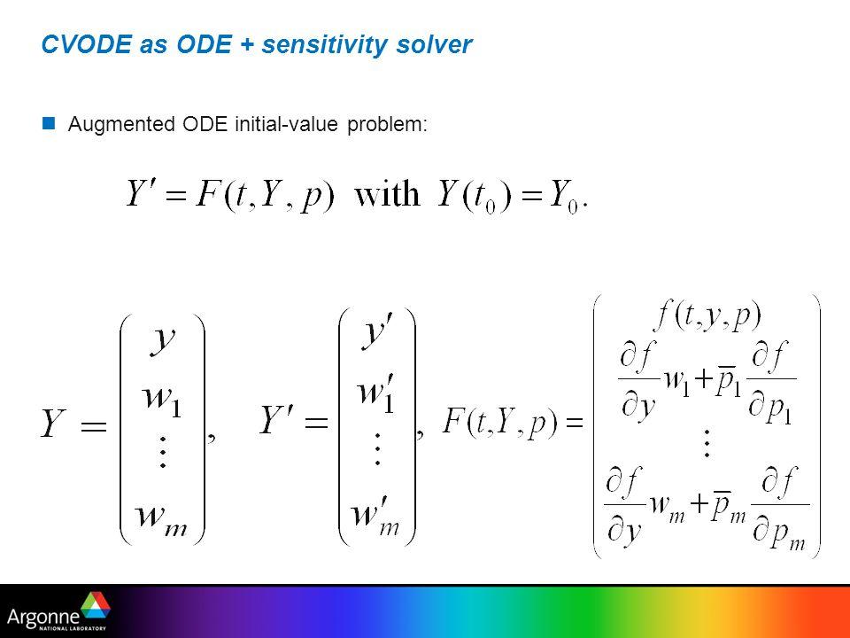 CVODE as ODE + sensitivity solver